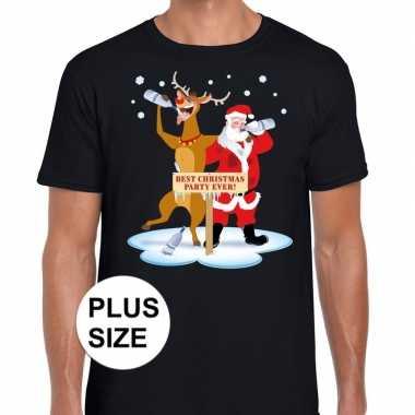 Grote maten foute kerstmis shirt zwart een dronken kerstman rudolf h