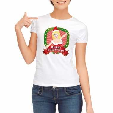 Sexy foute kerstmis shirt wit dames merry christmas kersttrui
