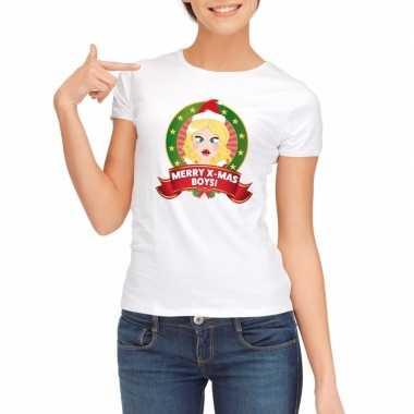 Sexy foute kerstmis shirt wit dames merry x mas boys kersttrui