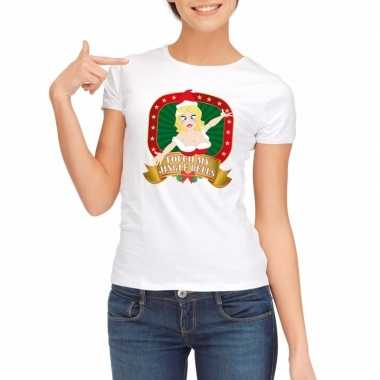 Sexy foute kerstmis shirt wit dames touch my jingle bells kersttrui