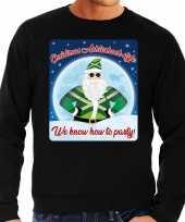 Foute achterhoek kerstborrel trui kersttrui christmas achterhoek style zwart heren