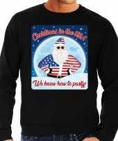 Foute amerika kerstborrel trui kersttrui christmas usa zwart heren