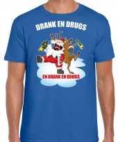 Foute blauw kers kerstkleding drank drugs heren kersttrui