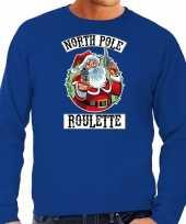 Foute blauwe kersttrui kerstkleding northpole roulette heren grote maten