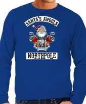 Foute blauwe kersttrui kerstkleding santas angels northpole heren grote maten