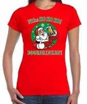 Foute fout kerstborrel kerstshirt ho ho ho doordrinken bier rood dames kersttrui