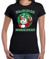 Foute fout kerstborrel kerstshirt ho ho ho doordrinken bier zwart dames kersttrui