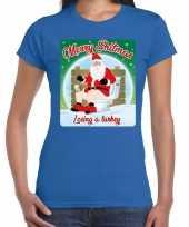 Foute fout kerstborrel shirt kerstshirt merry shitmas blauw dames kersttrui