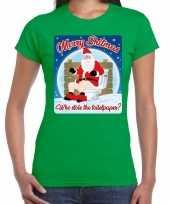 Foute fout kerstborrel shirt kerstshirt merry shitmas groen dames kersttrui
