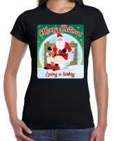 Foute fout kerstborrel shirt kerstshirt merry shitmas zwart dames kersttrui 10172687
