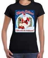 Foute fout kerstborrel shirt kerstshirt merry shitmas zwart dames kersttrui