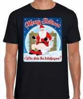 Foute fout kerstborrel shirt kerstshirt merry shitmas zwart heren kersttrui 10172697