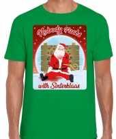 Foute fout kerstborrel shirt kerstshirt nobody fucks with sinterklaas groen heren kersttrui