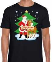 Foute fout kerstmis shirt zwart kerstman rudolf heren kersttrui