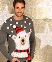 Foute grijze kersttrui ijsbeer
