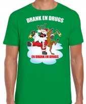 Foute groen kers kerstkleding drank drugs heren kersttrui