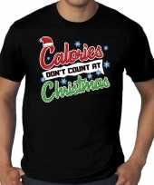 Foute grote maten kerstborrel shirt fout kerst calories dont count at christmas zwart heren kersttrui