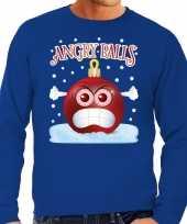 Foute kerstborrel sweater kersttrui angry balls blauw heren