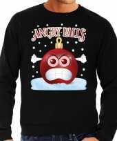 Foute kerstborrel sweater kersttrui angry balls zwart heren