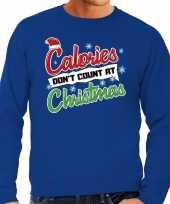 Foute kerstborrel trui kersttrui calories don t count at christmas blauw heren