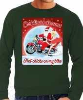 Foute kerstborrel trui kersttrui christmas dreams groen motorrijders heren