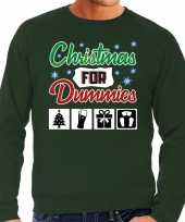 Foute kerstborrel trui kersttrui christmas for dummies groen heren