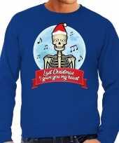 Foute kerstborrel trui kersttrui last christmas i gave you my heart skelet blauw heren