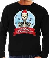 Foute kerstborrel trui kersttrui last christmas i gave you my heart skelet zwart heren