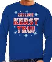 Foute kerstborrel trui kersttrui lelijke kerst trui blauw heren