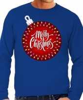 Foute kerstborrel trui kersttrui merry christmas grote kerstbal blauw heren