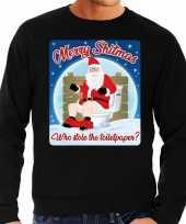 Foute kerstborrel trui kersttrui merry shitmas zwart heren 10172409