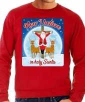 Foute kerstborrel trui kersttrui now i believe holy santa rood heren