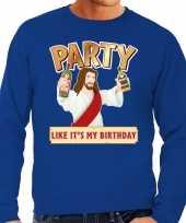 Foute kerstborrel trui kersttrui party jezus blauw heren