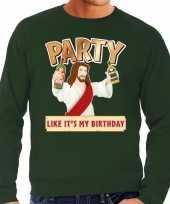 Foute kerstborrel trui kersttrui party jezus groen heren