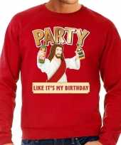 Foute kerstborrel trui kersttrui party jezus rood heren