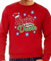 Foute kerstborrel trui kersttrui santa is a little drunk rood heren