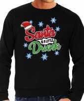 Foute kerstborrel trui kersttrui santa is a little drunk zwart heren