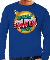 Foute kerstborrel trui kersttrui the name is santa bitches blauw heren