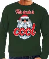 Foute kerstborrel trui kersttrui this dude is cool stoere santa groen heren