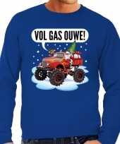 Foute kerstborrel trui kersttrui vol ga ouwe santa monstertruck truck blauw heren