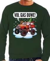 Foute kerstborrel trui kersttrui vol ga ouwe santa monstertruck truck groen heren