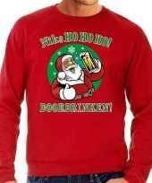 Foute kerstborrel trui kersttrui zuipende kerstman niks ho ho ho doordrinken rood heren