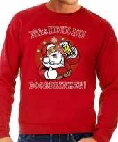 Foute kerstborrel trui kersttrui zuipende kerstman niks ho ho ho doordrinken rood rode tekst heren