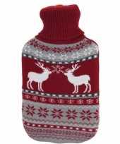 Foute kerstkruik rood grijze rendieren kersttrui hoes