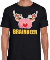 Foute kerstmis braindeer zwart heren kersttrui