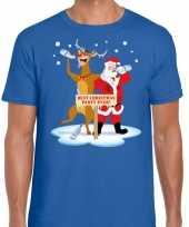 Foute kerstmis shirt blauw een dronken kerstman rudolf heren kersttrui