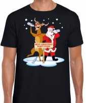 Foute kerstmis shirt zwart een dronken kerstman rudolf heren kersttrui