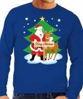 Foute kersttrui blauw kerstman rudolf heren