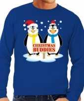 Foute kersttrui blauw pinguins heren