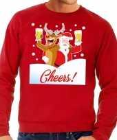 Foute kersttrui cheers dronken kerstman rudolf heren 10129099